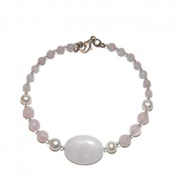 Pulsera de cuarzo rosa y perlas de río