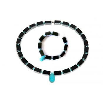 Conjunto de turquesa y cristal negro